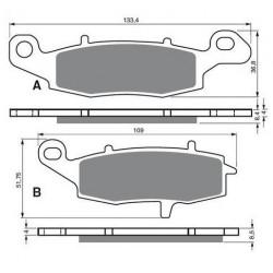 Paires de Plaquettes de frein Avant Pour Honda Sporty 125 sh de 2001 à 2012